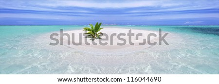Beautiful tropical crystal clear sea with sandy island and vegetation - stock photo