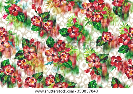 Beautiful tropical flowers pattern seamless on a leopard spots background. Watercolor painting hands. Floral background for elegant fashion textile - stock photo