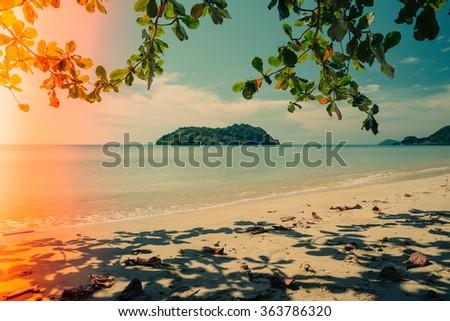 Beautiful tropical island beach Koh Mak, Trat Thailand - Vintage light leak filter effect - stock photo