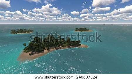 Beautiful tropical islands and clear sea - stock photo