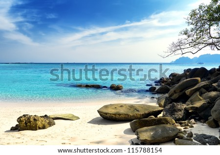 Beautiful tropical landscape. Phi Phi Don Island, Thailand. - stock photo