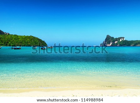 Beautiful tropical landscape. Phi-Phi Island, Thailand. - stock photo