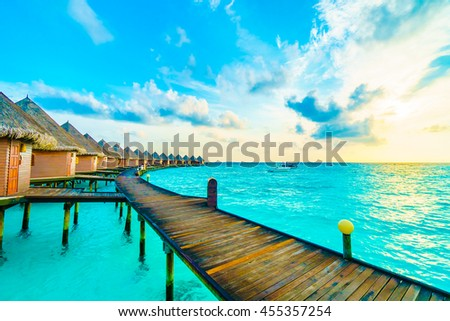 Beautiful tropical Maldives island with beach and sea for nature holiday vacation background concept -Boost up color Processing