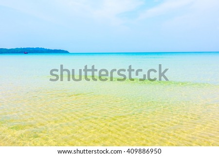 Beautiful tropical ocean or sea on the beach landscape with blue sky background - Boost up color Processing