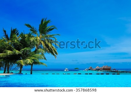Beautiful tropical resort in Maldives. - stock photo