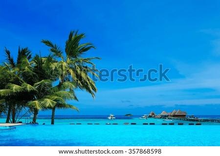 Beautiful tropical resort in Maldives. - stock photo