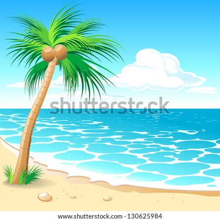 Beautiful tropical seascape with a sunset and palms. Raster version. Vector is also available in my gallery - stock photo
