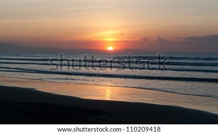 beautiful tropical sunset - stock photo