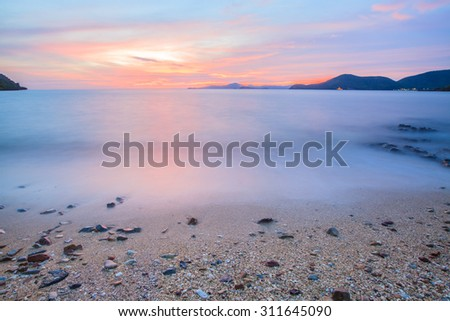 Beautiful tropical sunset  landscape beach,Mist sea.  - stock photo