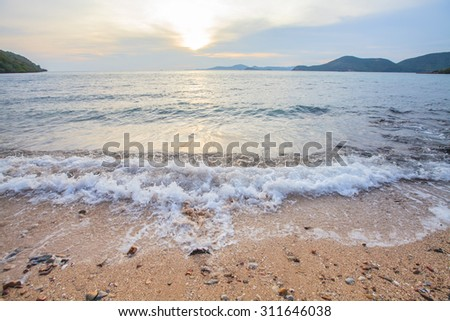 Beautiful tropical sunset landscape,Mist sea.  - stock photo