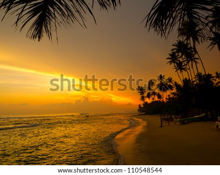 Beautiful tropical sunset on a beach in Sri-Lanka - stock photo