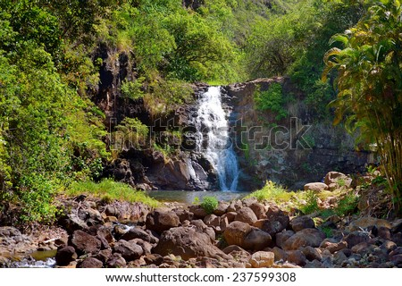 Beautiful tropical waterfall in Waimea Valley park on Oahu island - stock photo