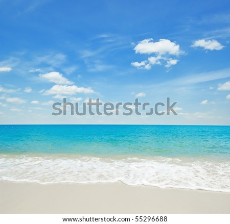 Beautiful tropical white sand beach. - stock photo