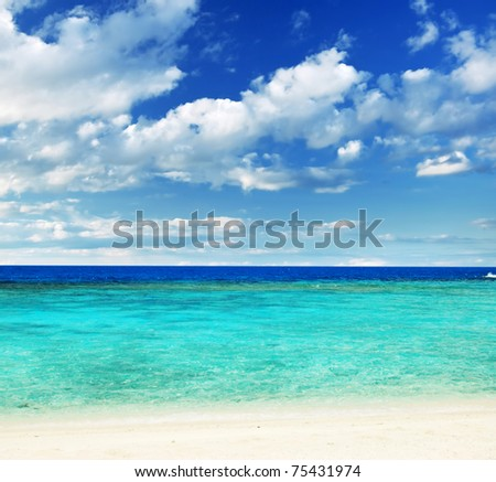 Beautiful tropical white sand beach. - stock photo