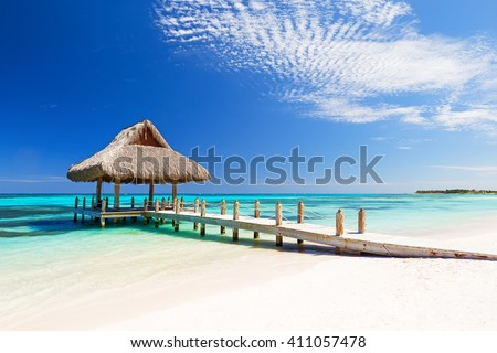 Beautiful tropical white sandy beach in Cap Cana, Dominican Republic - stock photo