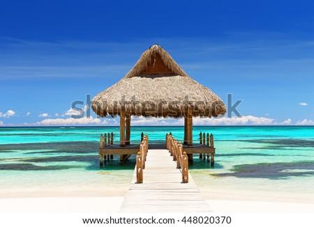 Beautiful tropical white sandy beach in Cap Cana, Dominican Republic - stock photo