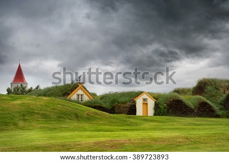 Beautiful turf houses in Glaumbaer in Iceland