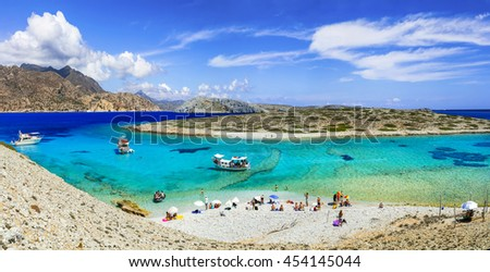 beautiful turquoise beaches of Greece - Astypalea island, Dodecanes - stock photo