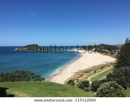 Beautiful turquoise crystal clear blue water in Main Beach and Mount Maunganui