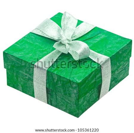 Beautiful turquoise gift isolated on white background - stock photo