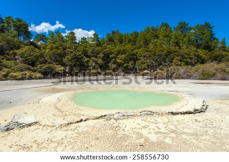 Beautiful turquoise lake at Wai-O-Tapu geothermal area, New Zealand - stock photo