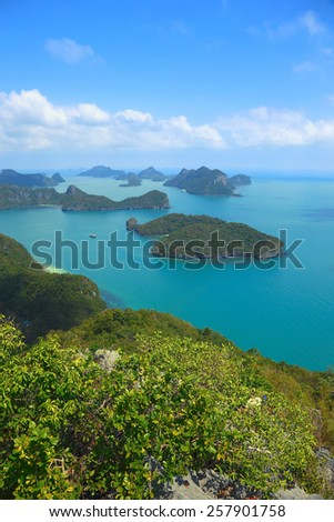 beautiful turquoise waters surrounding the islands of Ko Ang Thong in southern Thailand - stock photo