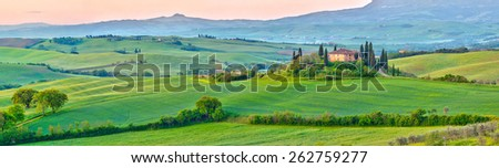 Beautiful Tuscany landscape at early morning , Italy