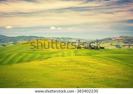 Beautiful tuscany landscape at spring , Italy - stock photo