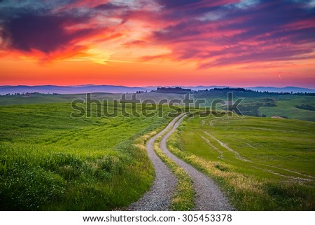Beautiful Tuscany landscape at sunset, Italy - stock photo