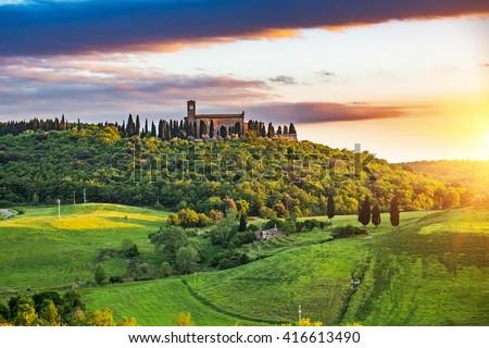 Beautiful tuscany landscape at sunset , Italy - stock photo