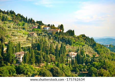 Beautiful Tuscany landscape near Florence city. Italy - stock photo