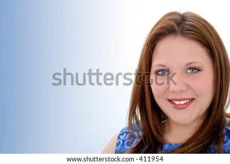 Beautiful Twenty Year Old Young Woman. Light make-up.  Beautiful skin and bright eyes.