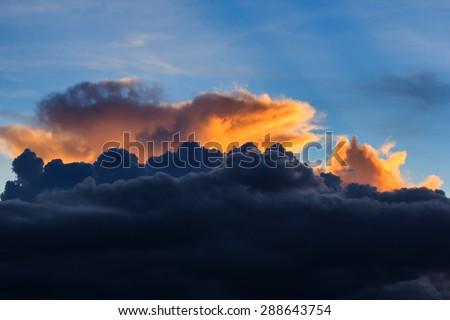 "Beautiful twilight landscape - village ""BaanLuk"" in Lampang, Thailand. - stock photo"
