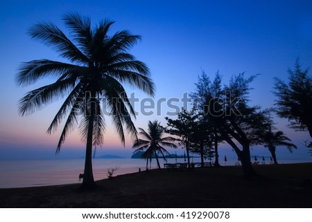 beautiful twilight sky and dusky with silhouetted coconut tree on sand beach use for nature background backdrop. - stock photo