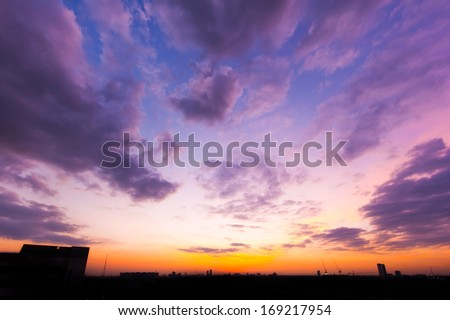 beautiful twilight sky at sunset with cloud