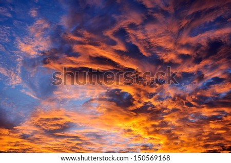 beautiful twilight sunrise scene on cloudy sky