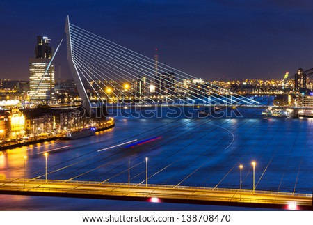 Beautiful twilight view on the bridges over the river Maas (Meuse) in Rotterdam, The Netherlands - stock photo