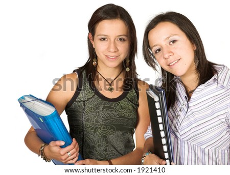beautiful twins - students over white - stock photo