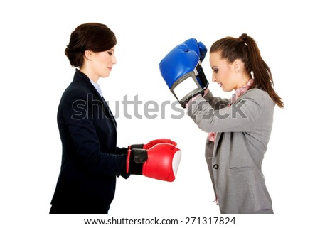 Beautiful two businesswomen with boxing gloves. - stock photo