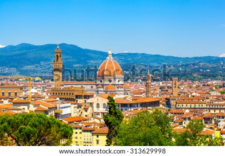 Beautiful type of Cathedral of Santa Maria del Fiore from Michelangelo's hill in summer day, Florence, Italy - stock photo