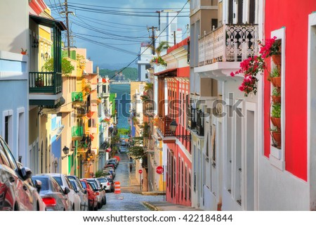Beautiful typical traditional vibrant street in San Juan, Puerto Rico - stock photo