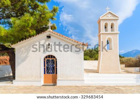 Beautiful typical white Greek church on Samos island, Greece - stock photo