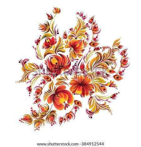 beautiful Ukrainian decorative ornament style Petrykivka painting, folk vintage painting with flowers for design - stock photo