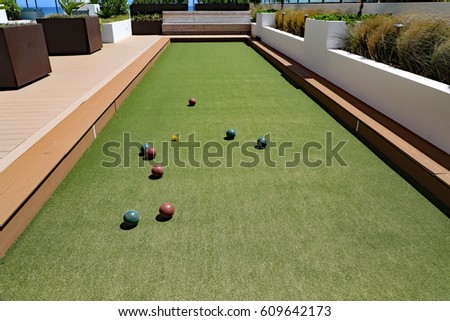 Beautiful Upscale Bocce Ball Court Artificial Stock Photo ...