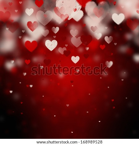 beautiful valentine background with hearts - stock photo