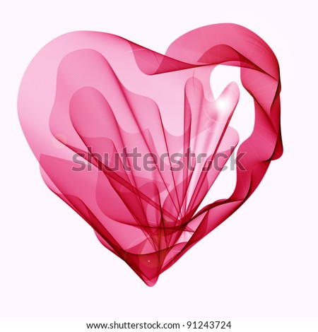 Beautiful Valentine's background with abstract pink and red heart - stock photo