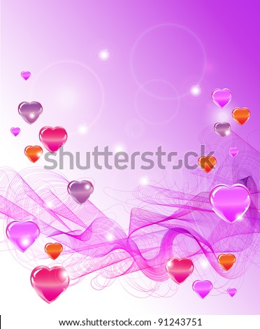 Beautiful Valentine's background with hearts and waves
