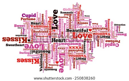Beautiful Valentine Themed Typographical Pattern made up of the many words representing Love and Affection. - stock photo