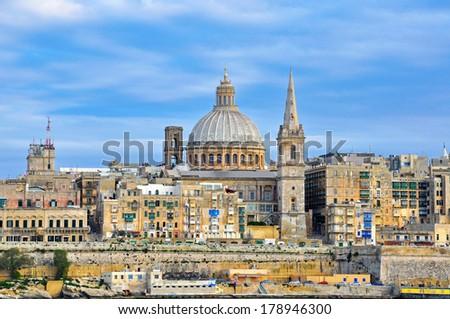 Beautiful Valletta city, Malta - stock photo