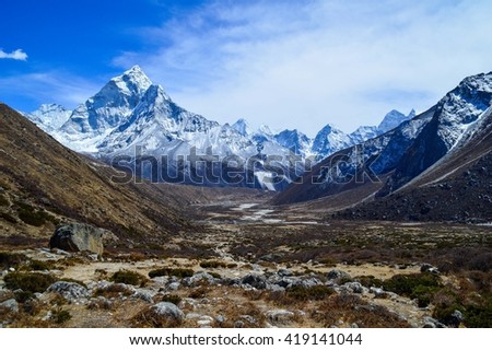 Beautiful valley in the Himalayas, Nepal - stock photo